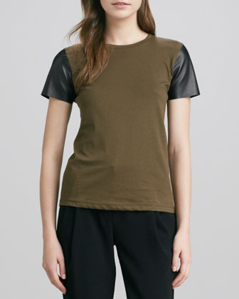 Short-Leather-Sleeve Tee, Olive