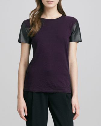 Short-Leather-Sleeve Tee, Blackberry