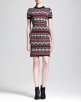 Short-Sleeve Pixel-Knit Dress