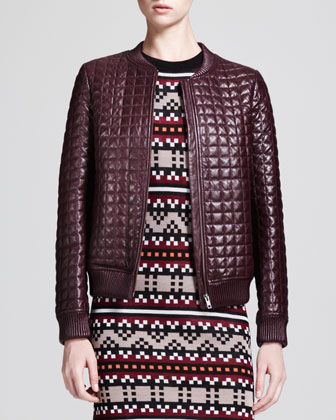 Quilted Leather Bomber Jacket