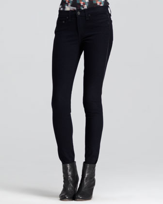 The Bomber Leather-Piped Legging Jeans, Midnight