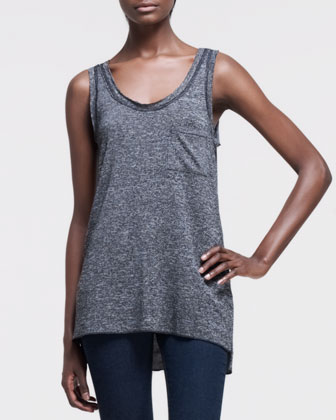 Sleeveless Slub Pocket Tank, Charcoal Gray