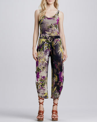 Winter Floral-Print Pants
