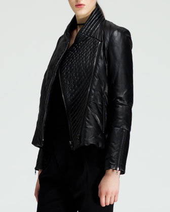 Pitch Quilted Leather Jacket, Asymmetric Jersey Tank & Angled-Front Skinny Pants