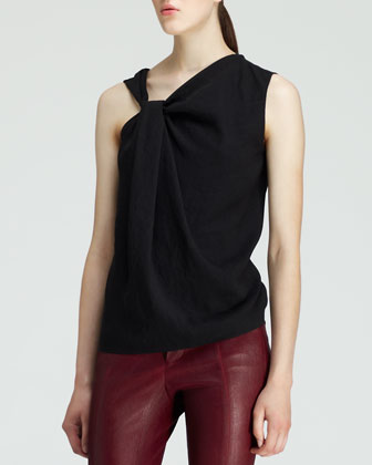 Crash Jacquard Combo Jacket, Render Twist-Neck Top & Cropped Leather Stovepipe Pants