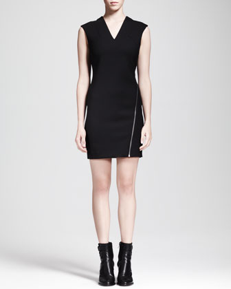 Asymmetric-Zip Moto Dress