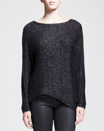 Flecked Metallic Asymmetric Sweater and Waxy Stretch Leggings