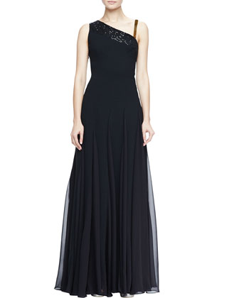 Sequined Asymmetric Crepe Gown