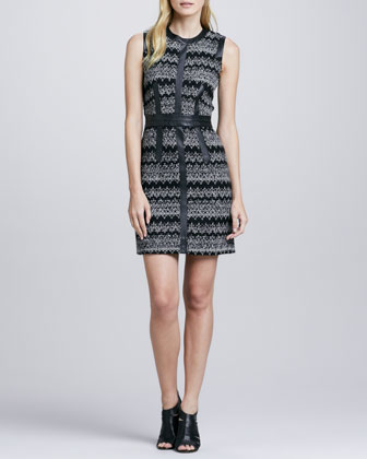 Leather-Trim Zigzag Dress
