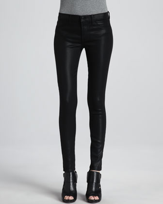 Mid-Rise Coated Jeans, Black Quartz
