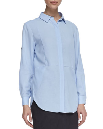 Soft Tab-Sleeve Seamed Shirt