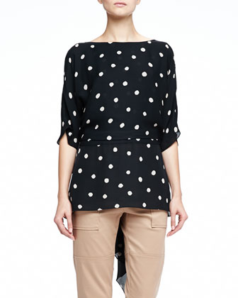 Drape-Back Polka-Dot Top