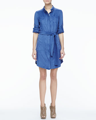 Stretch Faux-Suede Belted Shirtdress