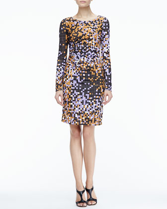 Gathered-Side Printed Dress