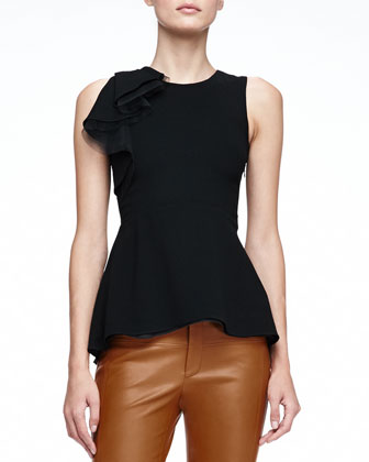 Sleeveless Peplum Top with Ruffle