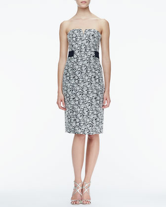 Strapless Floral-Jacquard Dress