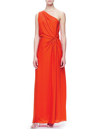 One-Shoulder Side-Knot Gown