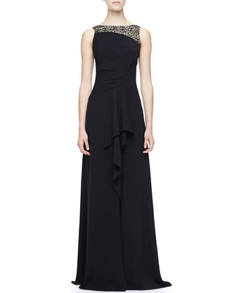 Lace-Top Jersey Gown
