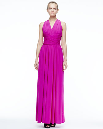 Ruched Open-Back Gown