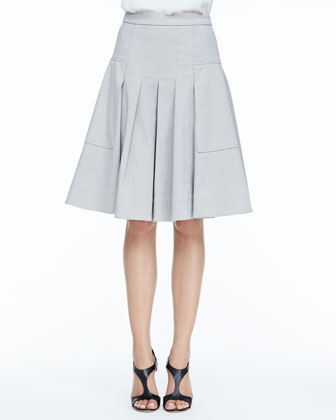 Large-Pocket Pleated Twill Skirt
