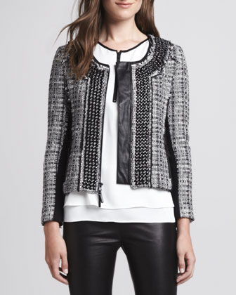 Studded Leather-Trim Tweed Jacket