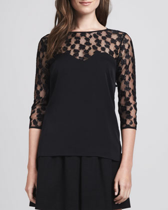 Lace-Top Sweetheart Blouse