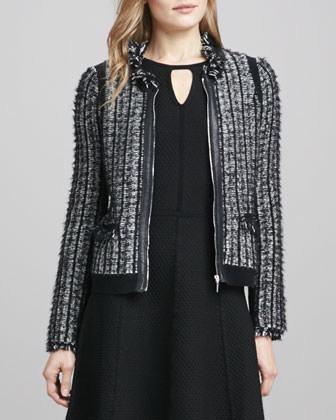 Leather-Trim Tweed Jacket