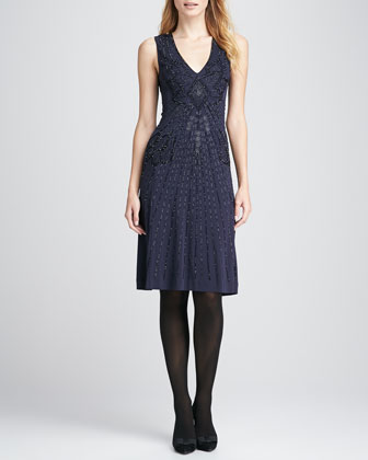 Meris Beaded Sleeveless Dress