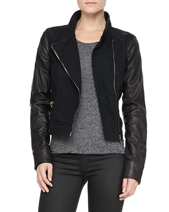 Canvas-Leather Moto Jacket
