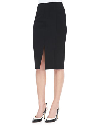 Cropped Mohair Sweater and Slit-Front Pencil Skirt