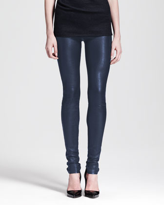 Sonar Wool Asymmetric-Neck Top & Leather Leggings