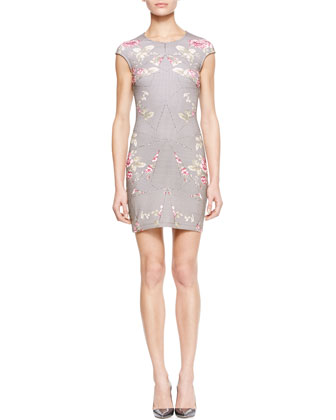 Paneled Rose-Print Dress