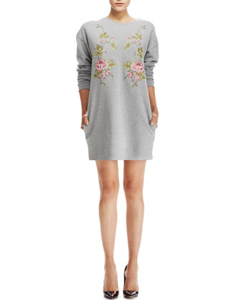 Cotton Sweatshirt-Dress, Gray