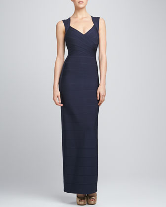V-Neck Bandage Gown, Pacific Blue