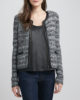Jacolyn Leather-Trim Tweed Jacket
