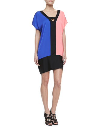 Colorblock Stretch-Silk Dress