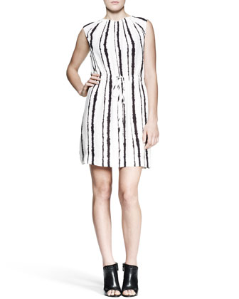 Roxanne Bleeding-Stripe Dress