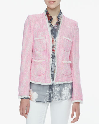 Frayed-Trim Tweed Jacket
