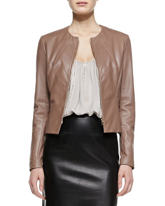 Collarless Fitted Leather Jacket, Nailhead-Stripe Silk Camisole & Flutter-Hem Leather Skirt