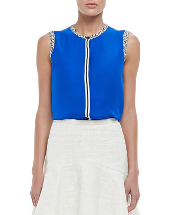 Emily Cropped Wool Jacket, Printed-Trim Sleeveless Blouse & Martha Sheer-Hem Flounce Skirt
