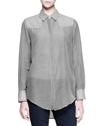 Jett Pleat-Back Blazer & Redwood Striped Shoulder-Patch Shirt