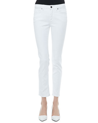 Paneled Round-Neck Shell & Slim Ankle Jeans
