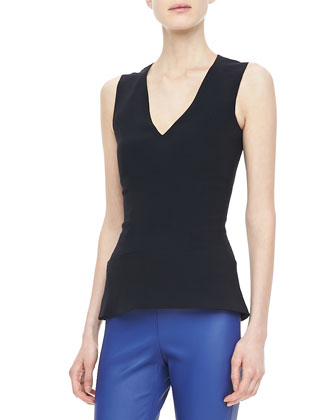 Paneled V-Neck Shell, Black