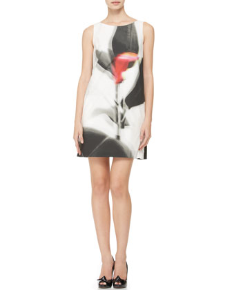 Sleeveless Abstract-Print Shift Dress, Black/Multi