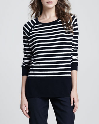 Striped Relaxed Cashmere Sweater, Ribbed Favorite Tank & Straight-Leg Cuffed Trousers