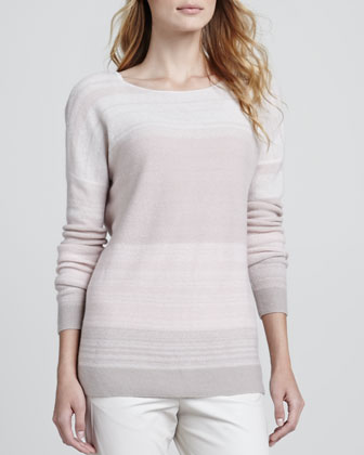 Degrade Cashmere Long-Sleeve Sweater, Pink