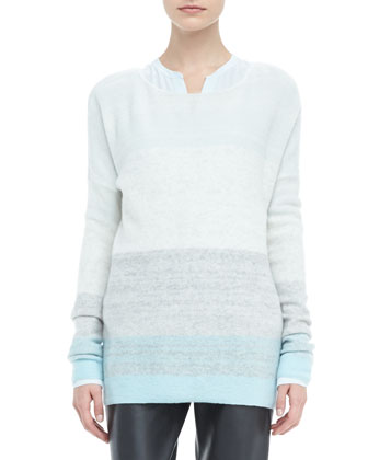 Degrade Cashmere Long-Sleeve Sweater, Aqua