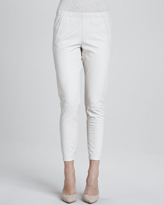 Silk Welt Pocket Blouse & Cropped Leather Pants, Chalk