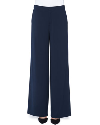 Wide-Leg Crepe Pants, Coastal