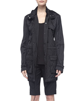 Loose Arch-Hem Tank, Black, Luxe Hooded Long Anorak & Tropical Wool Bermuda Shorts